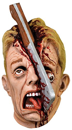 Realistic Scary Full Head Halloween Cleave Mask with Hatchet Machete Knife Costume Accessory for Adults