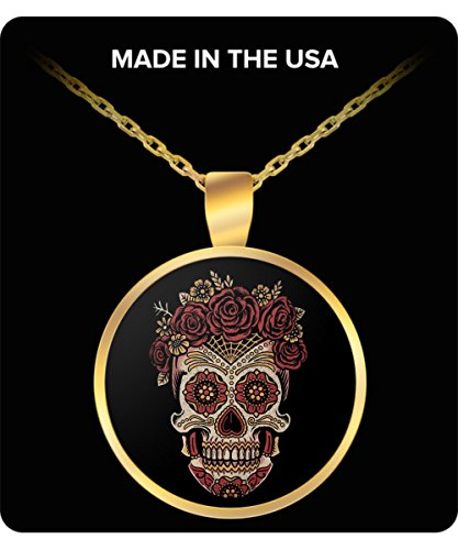 Sugar Skull Dia de los Muertos Rose Gold or Silver Round Pendant (Dia Gold Pendant)