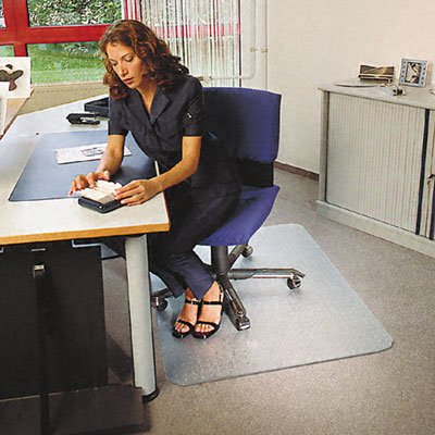 Cleartex Ultimat Rectangular Chair Mat, Clear Polycarbonate, For Low & Medium Pile Carpets (up to 1/2''), Size 48'' x 60'' (FR1115223ER)