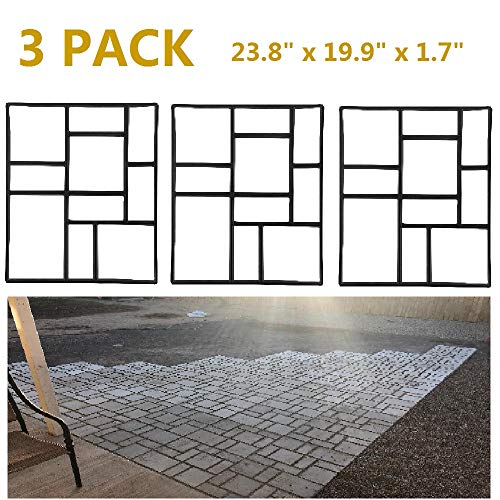 Topeakmart 3PCS Concrete Paving Stepping Stone Mold Path Walk Maker Paver Walk Way, Rectangular Patterns with 10 Grid, 23.8
