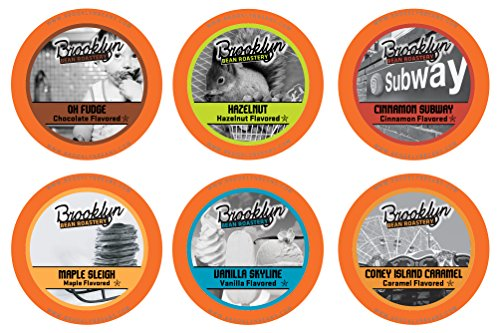 Brooklyn Beans Flavored Variety Pack Single-Cup Coffee for Keurig K-Cup Brewers, 40 Count(Assorted Flavors)