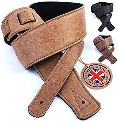 """BLACK UK MADE 2.75/""""  SOFTEE ADJUSTABLE BUCKLE REAL LEATHER PADDED GUITAR STRAP"""