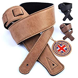 British Handmade Real Leather Guitar Strap: Finest Ultra Soft Italian Nappa Leather, 130cm long Foam Cushion Padded Guitar Belt – Suits Electric, Bass or Acoustic Instruments (inc Semi/Electro)