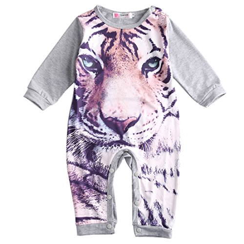 Baby Boys Girls Long Sleeve 3D Tiger Panda Romper (6-12M, (Tiger Outfit Kids)