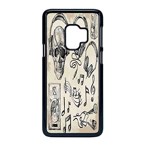 Cell Phone Case Compatible Samsung Galaxy S9,Music Decor - Hard Plastic Phone Case/Black - Sketchy Music Background Hipster Skull with Headphones Record Player Mic Speakers - Cover Turntable Technique