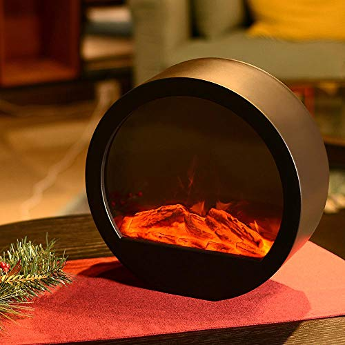 HN HAIINAA Flameless Lantern Realistic Fireplace Lights,3D Simulation Flame with Oval Black Plastic Case, 3C Battery Operated 6 LED Artificial Fireplace with Sitting Decoration for Indoor/Outdoor Use (Lanterns Fireplace)