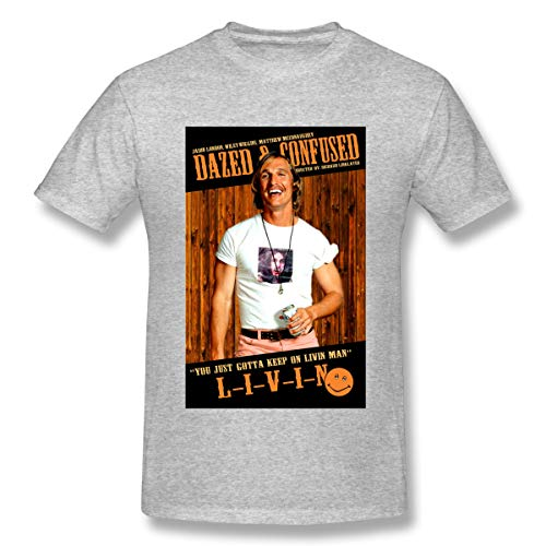 Marymcrawford Short Sleeve Graphic Tees Dazed and Confused Gray 6XL Graphic T-Shirt for Men