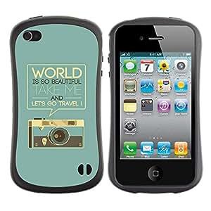 Fuerte Suave TPU GEL Caso Carcasa de Protección Funda para Apple Iphone 4 / 4S / Business Style Retro Graphics Photo Camera World Text