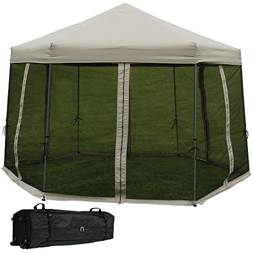 Sunnydaze Penthouse Hexagon Gazebo, Quick-Up Instant Outdoor Patio Canopy with Mesh Screen Sides and Rolling Bag, 12 Foot, - Tent With Picnic Net