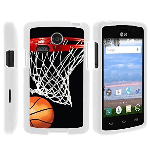 LG Lucky Phone Case, Thin Hard Shell Hard Armor Case with Personalized Graphics LG Sunrise L15G, LG Lucky L16C (Straight Talk, TracFone, Net10) from MINITURTLE | Includes Clear Screen Protector and Stylus Pen - Basketball Swish