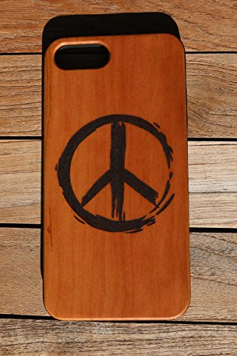 Inspired Peace Sign - (CH7) A Paint Inspired Peace Sign Custom Engraved On A Cherry Wood Phone Case With Flexible TPU Sides For IPhone 6, 7 And 8 (CH7-PEACE)