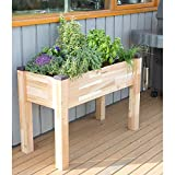 Cheap CedarCraft Self-Watering Elevated Cedar Planter (19″ x 42″ x 30″) – Grow Fresh Vegetables, Herb Gardens, Flowers & Succulents. Raised Garden Bed for a Deck, Patio or Yard Gardening. No Tools Required.