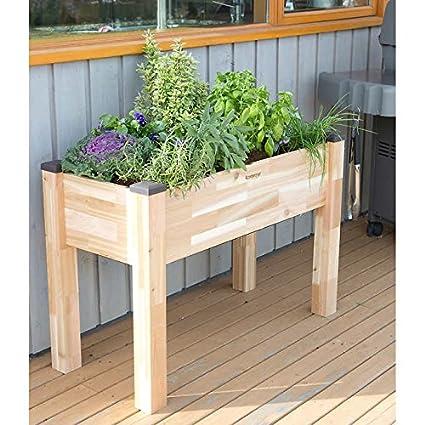CedarCraft Self Watering Elevated Cedar Planter (19u0026quot; X 42u0026quot; X  30u0026quot;