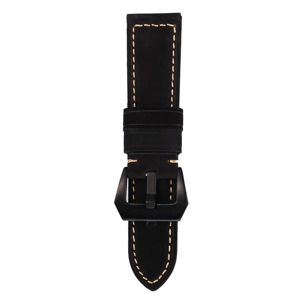 JDgoods Watch Band Replacement Leather Padded Buckle Wrist Band Strap 22 MM Brings New Life to Any Watch (Black)
