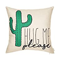 """Fjfz Please Hug Me Cactus Funny Quote Cotton Linen Home Decorative Throw Pillow Case Cushion Cover with Words Sofa Couch, 18"""" x 18"""""""