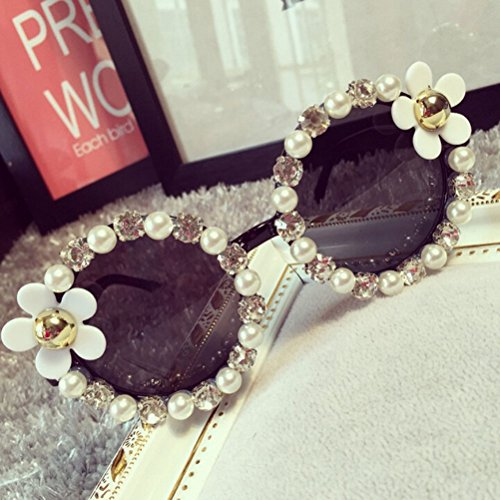 VIPASNAM-Hot Women Fashion Designer Flower Pearl Outdoor Eyewear Eye Glasses - Porsche Vintage Sunglasses