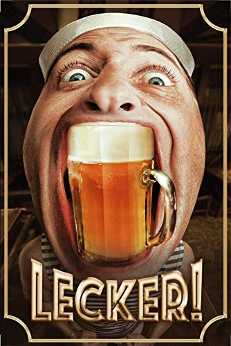 FDerks Lecker Beer Ugly Funny Vintage Industrial Custom Metal Tin Sign Home House Coffee Beer Drink Bar 8 x 12 Inches ()