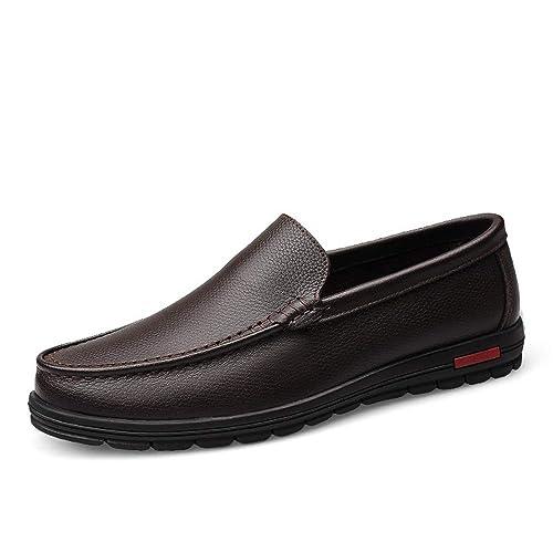 AFCITY Mocasines de mocasín de Cuero Genuino de los Hombres Zapatos de conducción Mocasines de Penny