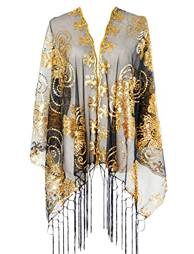 L'vow Women's Glittering 1920s Scarf Mesh Sequin Wedding Cape Fringed Evening Shawl Wrap(Gold and Black) ()