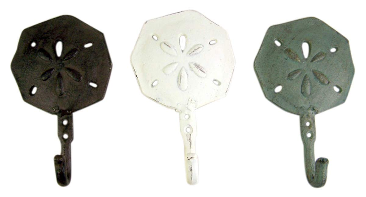 Sand Dollar Cast Iron Wall Hook 6 1//2 Inch Set of 3