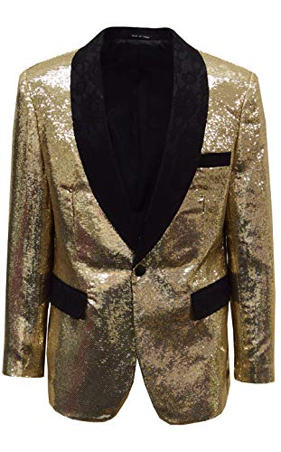 SAINT LORENZO Mens Slim Sequin Shawl Collar Prom Dance Party Jacket with Matching Bow Tie (Chest USA 36 - X Small, Gold)