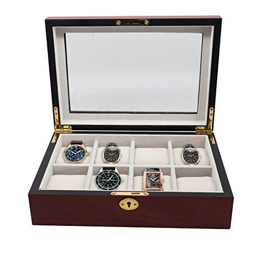 8 Piece (6 + 2) XL Oversized Large Cherry Wood Watch Display Case and Storage Organizer Box (Watch Xl Box)