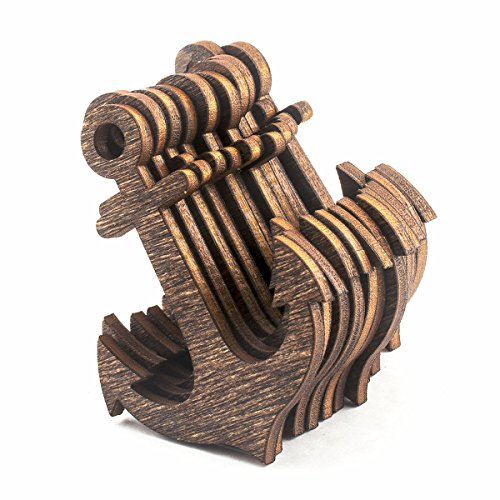 Summer-Ray 20pcs Dark Brown Laser Cut Wooden Veneer Anchor 4