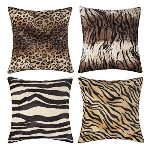 (CARRIE HOME Soft Plush Leopard Print Tiger Stripe Faux Fur Pillow Covers for Home Couch Sofa (Set of 4, 18x18 inch))