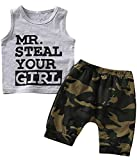 Crazybee Baby Boy Funny Tank Tops Summer Camouflage Short Set (Gray, 12-18 Months)