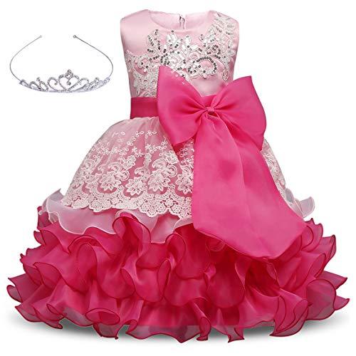 AiMiNa Girls Dress Bowknot Embroidered Princess Party Holiday