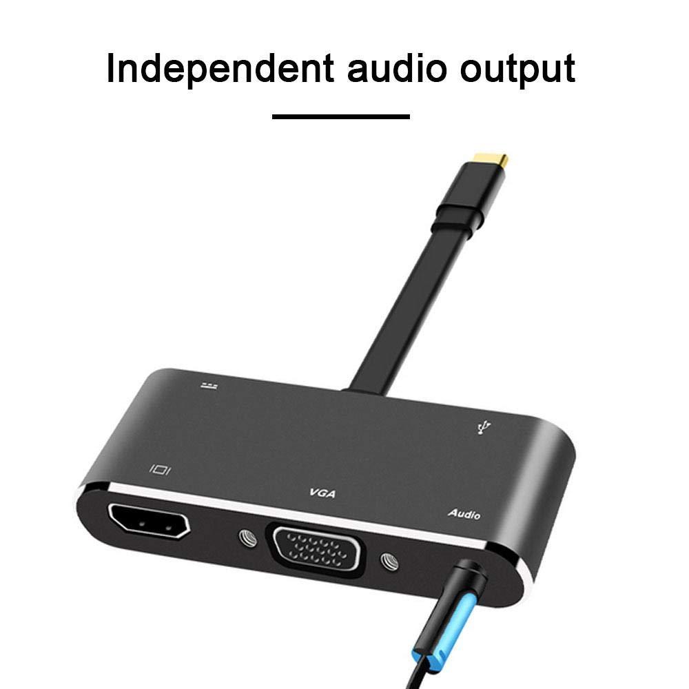 //VGA//3,5 mm//USB 3.0//Type C PD Charging Adaptateur convertisseur USB C vers VGA Prise en Charge VGA et HDMI USB C vers HDMI LayOPO Adaptateur multiport USB de Type C 5 en 1 4K x 2K