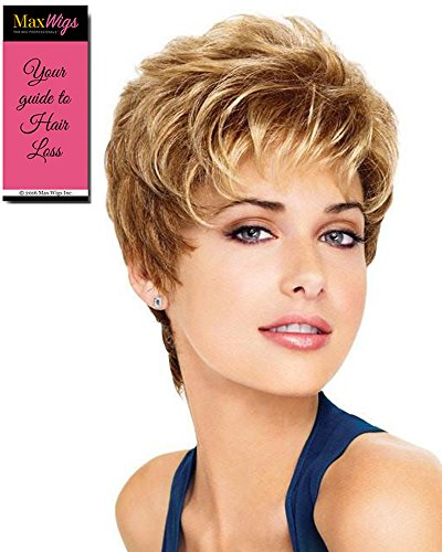 Aspire Avg Cap Wig  Color G12+ Pecan Mist - Gabor Wigs Women's Short Boy Cut Synthetic Loose Layers Curls Capless Comfort Fit Bundle with MaxWigs Hairloss Booklet