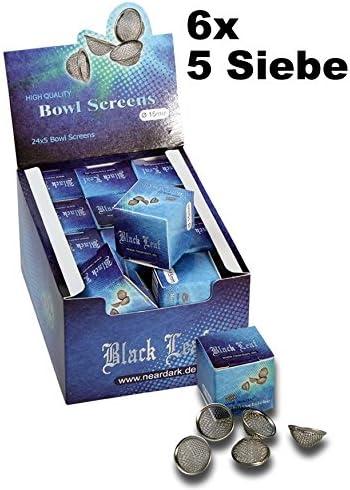 Black Leaf 30x Schüsselsiebe mit Vertiefung Ø 15mm (6x5er Packung) eingefasster Rand Einlegesiebe Stahlsiebe Edelstahl Siebe Pfeifensiebe