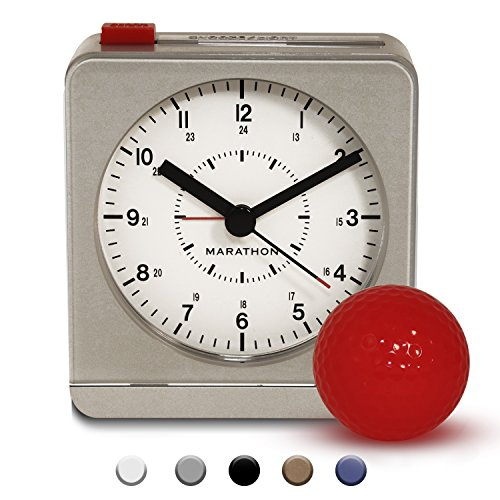 MARATHON CL030053SV Classic Silent Sweep Alarm Clock with Auto Night Light. Batteries Included (Alarm Face)