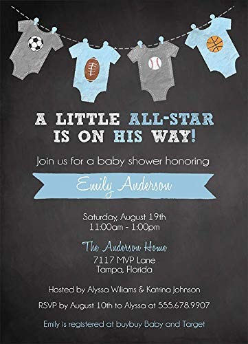 Sports Baby Shower Invitation Boys Soccer Football Baseball Basketball MVP Little Champ All Star Blue It's A Boy Chalkboard (10 Count) Customized Baby Shower Invitations