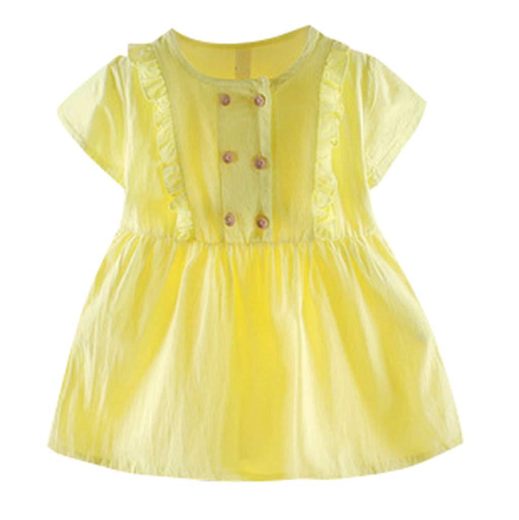 0-2 Years Baby Girl Dress, Infant Kid Short Sleeve Ruffle Dress Clothing Girls Cute Princess Skirt (18-24 Months, Yellow)