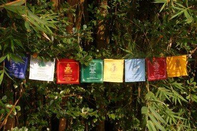 Large Tibetan Buddhist Eight Auspicious Symbols Prayer Flags]()