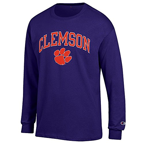 Elite Fan Shop Clemson Tigers Long Sleeve Tshirt Varsity Purple - M