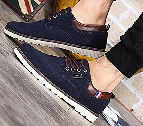 Aisun Mens Trendy Scarpe Stringate In Pelle Nabuk Blu