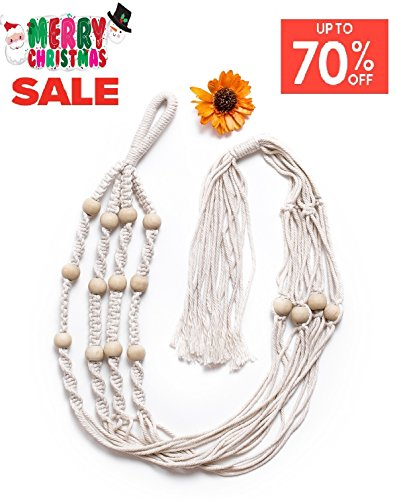 Macrame Plant Hangers by AMOUR Gardens ❤ 4 legs with beads 42