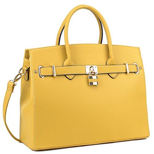 DASEIN Womens Top Handle Satchel Handbags Designer Tote Purse Shoulder Bag Faux Leather Padlock Briefcase Laptop Bag (Handbag Designer Yellow)
