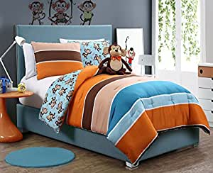 VCNY 3-Piece Reversible Mini Comforter Set, Monkey, Twin