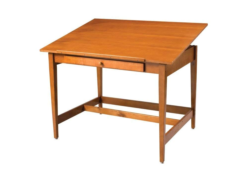Natural Birch Veneer Drawing Table - 48'' X 36'' Medium Stain Finish Dimensions: 48''W X 36''D X 34''H Weight: 90 Lbs
