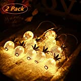 YIPINTANG Pineapple String Lights Battery Operated, Fairy Lights 2 Pack 5ft 10 LED Hanging String Light for Home Bedroom Decor Wedding Birthday Party Decoration (Warm White)