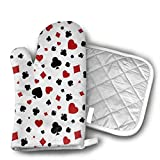 TRENDCAT Poker Printing Oven Mitts and Potholders (2-Piece Sets) - Extra Long Professional Heat Resistant Pot Holder & Baking Gloves - Food Safe