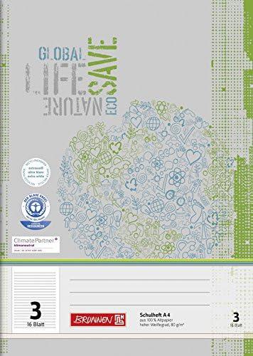 Brunnen 104410301 Recycling-Schulheft DIN A4 (16 Blatt, einfaches Heft)