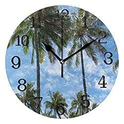 Round Circle Wall Clock Hawaii Palm Tree Kids Room, Playroom Decor Analog Silent Wall Clocks, Perfect Educational Tool for Homeschool, Classroom, Teachers and Parents 10inch
