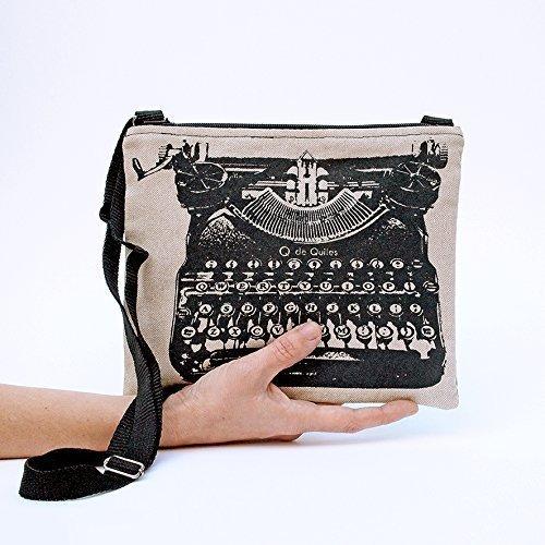 Bolso al hombro negro, bandolera Máquina de Escribir. Bolso cruzado con cremallera y asa