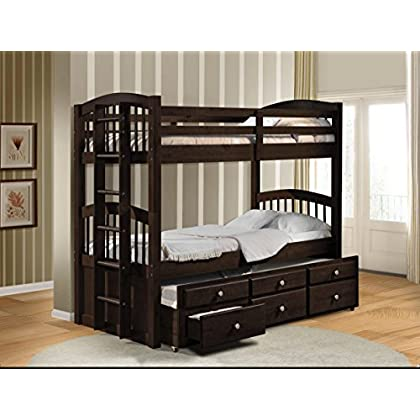 Image of Home and Kitchen Acme Micah Twin/Twin Bunk Bed with Trundle, Espresso Finish