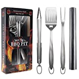 """Heavy Duty BBQ Grilling Tools Set - Professional Grade 18"""" Long Stainless Steel 4-Piece Barbecue Grill Kit includes Over Sized Spatula, Fork, Tongs & BBQ Mat - Perfect BBQ Gift For Your BBQ Lover"""